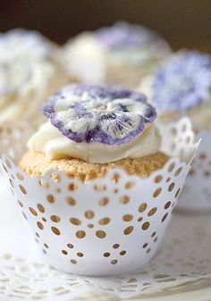 cupcake with frosting and Crystalised flower