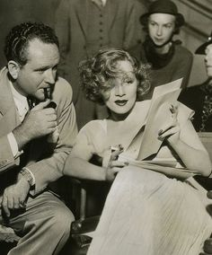 """Director Frank Borzage & Marlene Dietrich on the set of """"Desire"""" -1936"""