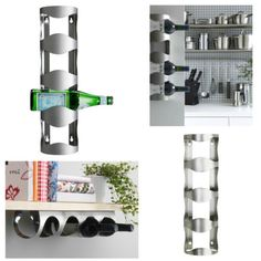 Wall-Mounted-Wine-Rack-Stainless-Steel-4-Bottle-Holder-Towel-Storage-Bar-Stand