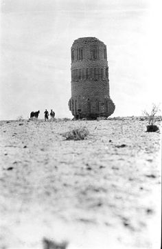 Khan Mujiddah, Brick tower with square niched substructure below circular tower and recessed niches, exterior view, March 1911, Gertrude Bell Archive, Newcastle University