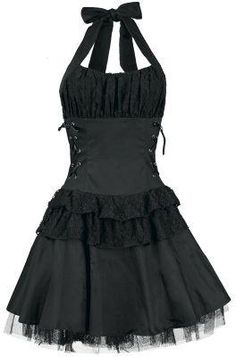 79. Black Frills Halter Dress ------------------ Key: Dresses, Ribbon, Black, Clothes