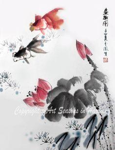 "Chinese Brush Painting, ""Goldfish in Lotus Pond"""