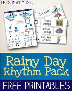 Rainy Day Rhythm Worksheets for Kids
