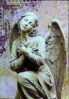 """Stone Angel"", By Rachel Black, Creative Flight Art, Mixed Media, United Kingdom. Cemetery Angels, Cemetery Statues, Cemetery Art, Angel Statues, D N Angel, Angel Art, Angels Among Us, Angels And Demons, Statue Ange"