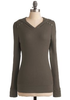 Street Style Starlet Top in Brownie - Solid, Buttons, Hoodie, Long Sleeve, Brown, Casual, Long
