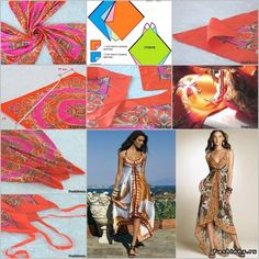 DIY Maxi Beach Dress from Silk Scarves | www.FabArtDIY.com LIKE Us on Facebook ==> https://www.facebook.com/FabArtDIY
