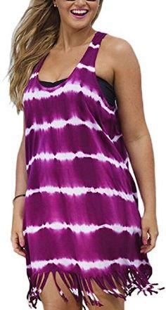 e4544b6fc40c Womens Plus Size Tassel Hem Tie Dye Racerback Tank Dress Purple 2XL     Visit the