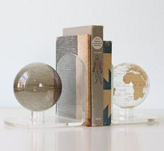 Vintage Lucite Globe Bookends Moon and Earth by bellalulu on Etsy