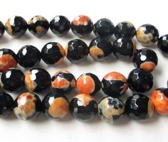 """Round Agate Beads, Black Orange Round Agate Beads, Faceted Round Agate Gemstone,10mm, 7.5"""" Approx, Diy Jewelry Making by BijiBijoux on Etsy https://www.etsy.com/listing/224094970/round-agate-beads-black-orange-round"""