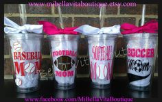Softball Mom Acrylic Tumblers 16oz. Go Green -Pick your Color Tumbler and Vinyl