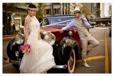 This couple got married in 100 different countries! Chicago was the first stop on their list. Car: Classic Wedding Car #classicweddingcar #classiccars