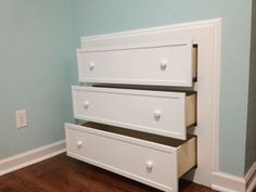 DIY Built In Dresser This is a greatidea for those small rooms that you can't fit furniture in without taking over the whole living space, like an attic space with those slanted walls. No matter how great your home is, not having enough storage space can be a hassle. Try this DIY built …
