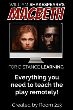 If you need to teach Macbeth remotely this resource is for you! It's jammed packed with lessons that contain links to recordings of the play the kids can listen to, and slideshows with lots of guidance and scaffolding to help them understand the language. You'll also get slideshow answer keys that you can use to go over the students's work. Lots of ideas for assessement as well. Check it out! Middle School Ela, Middle School English, English Activities, Learning Activities, High School Students, Student Work, English Language, Language Arts, Secondary Teacher