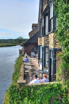Tea on the riverside at St Ives  This teashop is by the side of the River Great Ouse at St Ives in Cambridgeshire, and the terrace provides ...