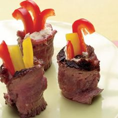How #yummy do these look? We love these #steak and Boursin wrapped bells!