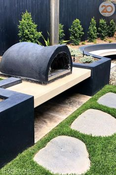 Perfect combination for outdoor entertaining: * Pizza oven * Honed concrete bench * Bluestone flags * Nambucca river gravel * Syzygium * Casuarina glauca * Helichrysum * Zoysia lawn WELL DONE boys at Honed Concrete, Concrete Bench, Stone Pizza Oven, Modern Backyard Design, Natural Stone Pavers, Flagstone, Stone Tiles, Walkways, Outdoor Entertaining