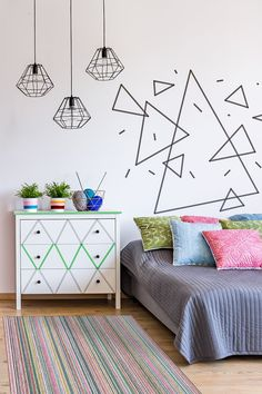 Tape Art, Tape Wall Art, Washi Tape Wall, Room Ideias, Diy Wall Decor, Room Decor, Machine Washable Rugs, Home Rugs, Decoration