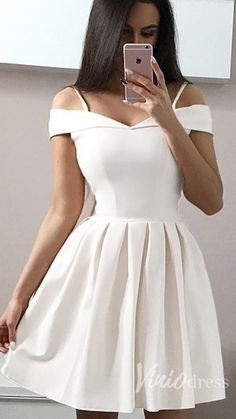 Simple off the shoulder white graduation dress. #graduationparty #backtoschool #shortpartydress #partydresses #homecomingdresses #homecomingdress #homecoming #hoco2k19