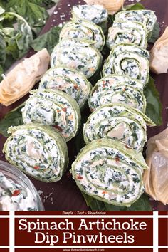 Spinach Artichoke Dip Pinwheels - Three Olives Branch Ready in 20 minutes, these Spinach Artichoke Dip Pinwheels are a quick and easy party appetizer rec Pinwheel Appetizers, Pinwheel Recipes, Easy Appetizer Recipes, Yummy Appetizers, Appetizers For Party, Vegetarian Appetizers, Pinwheels Food, Easy Party Snacks, Gourmet