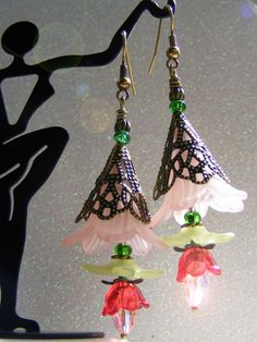 Large Trumpet Lily earrings by thebeadstudio on Etsy, $15.00