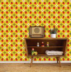 Behang Appeltjes - Bora Wallpaper -De Oude Speelkamer apple wallpaper for a kids room or kitchen