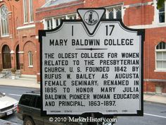 Mary Baldwin College historic marker