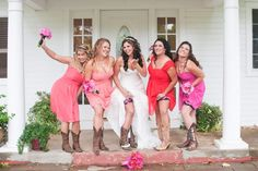 Bridesmaids, western, country wedding, rustic, @Gover Ranch, cowgirl boots and wedding dress, sassy girls, fun bridesmaid pose, long hair bride