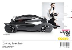 Driving Jewellery, Degree Project @Coventry  Degree Project @ Coventry University 2014  Driving Jewellery is a vehicle tailored to the desires of women; to create an opportunity to show off their status and a sense that vehicles could also become a hedonistic high fashion jewellery rather than an object to be in for specific uses. The concept came from the outset of vehicle design, to create a desirable item that would focus on high fashion and art to inspire desire, as opposed to simply ...