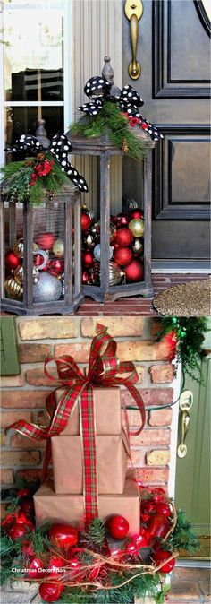 32 beautiful Christmas porches & front doors: how to create gorgeous and playful DIY outdoor Christmas decorations such as garlands wreaths lights ornaments Christmas pots and more! - A Piece of Rainbow Simple Christmas, Christmas Holidays, Christmas Porch Ideas, Christmas Front Doors, Christmas Quotes, Christmas Carol, Diy Door Wreaths Christmas, Outdoor Christmas Decor Porches, Christmas Decor For Kitchen