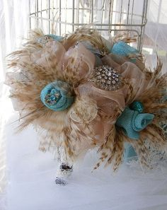 Couture  Glamour feather bridal bouquet Something different