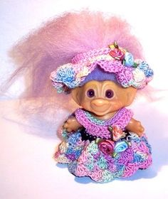 "Vintage Unmarked 3"" Troll Doll Purple Hair Swirl Eyes Handmade Crochet Clothes | eBay"