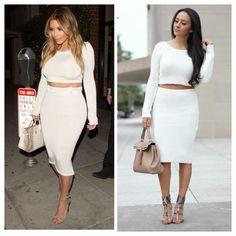 Maytedoll: Celebrity Look For Less: Kim Kardashian White Crop Top & Midi Skirt.