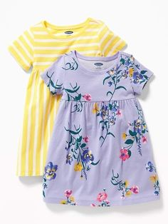 89168769c97 Old Navy Babies  2-Pack Jersey Dress White Floral Regular Size 12-18 M
