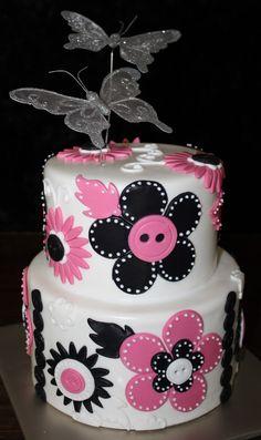 2-tier flower button cake