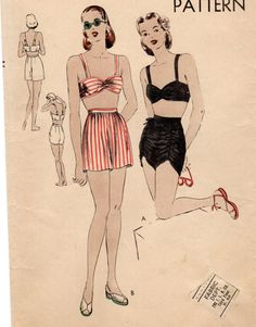 Vintage 1940s RARE Original Vogue Draped Bra Shirred Shorts 2 Piece Pinup Bathing Suit Sewing Pattern Size Bust 30""