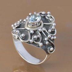 SOLID 925 STERLING SILVER BLUE TOPAZ RING 5.51g DJR7352 SZ-7 #Handmade #Ring