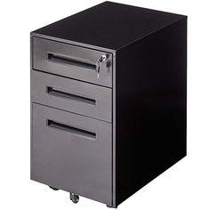Giantex Mobile File Cabinet with Lock Key Sliding Drawer for 5 Rolling Casters Metal Storage, File Storage (Black)