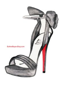 Watercolor Fashion Illustration Christian Louboutin Satin Bow High Heel Shoes