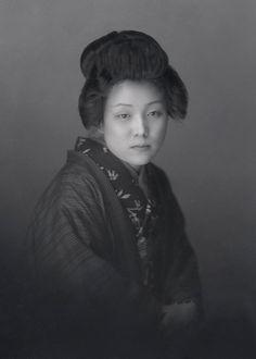 +~+~ Vintage Photograph ~+~+  Portrait of a Japanese woman in a kimono ~ 1920s glass negative.