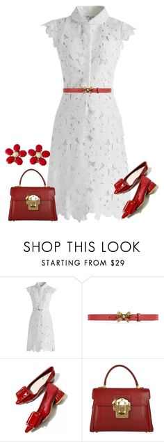 """red"" by kim-coffey-harlow ❤ liked on Polyvore featuring Chicwish, Gucci, Dolce&Gabbana and Schreiner"