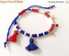 Mothers Day Gift Sale 4th of July jewelry patriotic bracelet Independence day red white and blue memorial day fourth of July jewelry America
