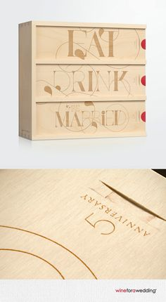 The Eat, Drink and Be Married anniversary wine box is a unique wedding gift for couples to enjoy on future anniversaries. | Artificer Wood Works #artificerwoodworks #wineforawedding #anniversarywinebox #weddingwinebox #wineboxceremony #giftingclever