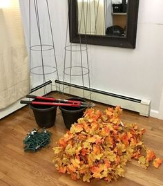 easy diy fall leaves potted topiary tree from a tomato cage, crafts, halloween decorations, seasonal holiday decor, thanksgiving decorations Tomato Cage Crafts, Tomato Cages, Fall Topiaries, Porch Topiary, Diy Halloween Dekoration, Fall Fireplace, Easy Christmas Ornaments, Diy Christmas, Fall Garland