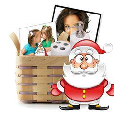 Cabaz Pai Natal - Características :: No cabaz está incluído:  1 Tela 40 x 30cm com moldura preta;  1 Saboneteira & Porta Escovas;  1 Azulejo 15 x 15cm