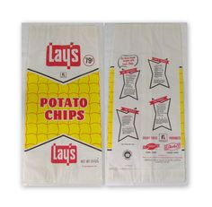 Items similar to Vintage 1967 Lays Potato Chip Bag Unused 79 Cents Yellow Wax Paper Bag Recipes on Etsy Vintage Food Labels, Vintage Packaging, Vintage Dishes, Retro Ads, Vintage Advertisements, Vintage Ads, Retro Recipes, Vintage Recipes, Sweet Memories