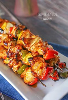 Teriyaki Chicken Kabobs - Glazed teriyaki chicken, colorful bell peppers, sweet pineapple & onions make these Teriyaki Chicken Kabobs that are a delicious easy family dinner idea. on kleinworthco.com