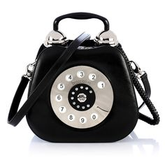 TELEFONO - BRACCIALINI - Rigid leather handbag shaped like a telephone. Made and processed by hand. Handheld bag