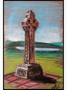 Oil Pastel Paintings, Cross Art, Thing 1, Irish Traditions, Large Prints, Top Artists, Watercolor Art, Celtic, Original Artwork