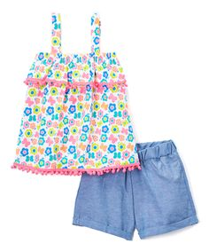 Fuchsia Floral Tank & Chambray Bloomers - Infant & Toddler