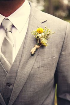 Gray suit with gray vest!! Just need a dark purple tie and a white rose!